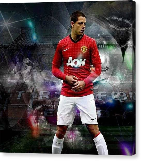 Soccer Players Canvas Print - Javier Hernandez  by Oscar Lopez