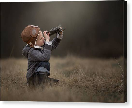 Toy Airplanes Canvas Print - Future Aviator by Annie Whitehead
