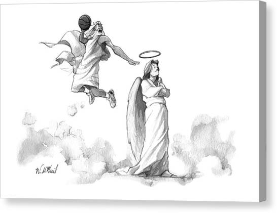 Slam Dunk Canvas Print - G-d Slam Dunks On An Angel's Halo by Will McPhail