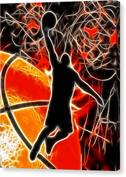 Slam Dunk Canvas Print - Galactic Dunk by David G Paul