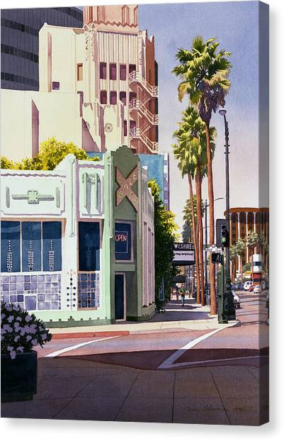 Trees Canvas Print - Gale Cafe On Wilshire Blvd Los Angeles by Mary Helmreich