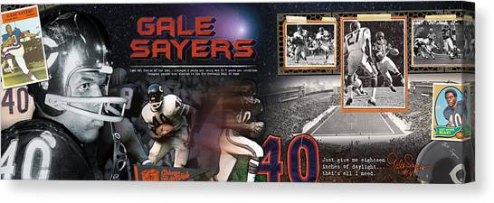 Running Backs Canvas Print - Gale Sayers Panoramic by Retro Images Archive