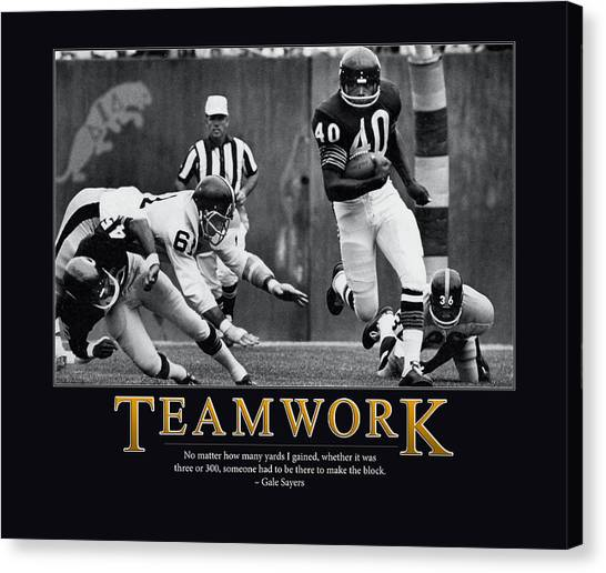 Running Backs Canvas Print - Gale Sayers Teamwork by Retro Images Archive