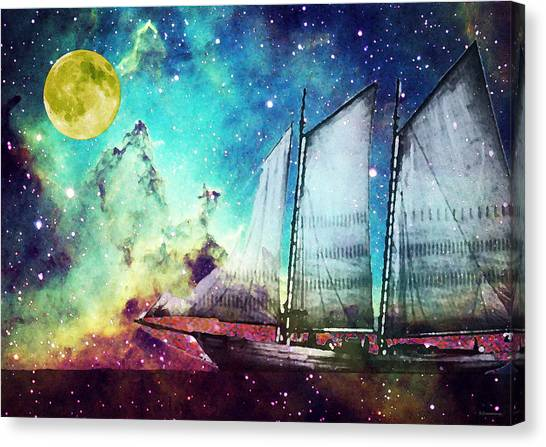 Abstract Seascape Canvas Print - Galileo's Dream - Schooner Art By Sharon Cummings by Sharon Cummings