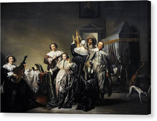 Music Genres Canvas Print - Gallant Company, 1633, By Pieter Codde 1599-1678 by Bridgeman Images