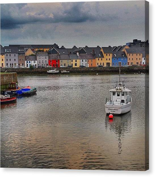 Ireland Canvas Print - #galway #ireland #houses #sea #atlantic by Luisa Azzolini