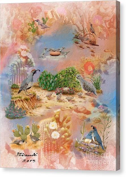 Gambel Quail Collage-southwest Art Canvas Print