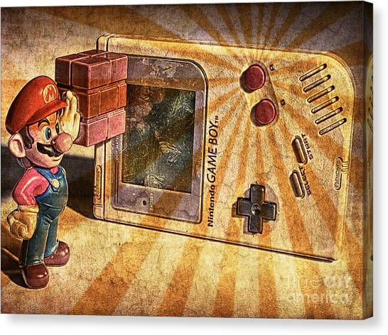 Super Mario Canvas Print - Game Boy And Mario - Vintage by Stefano Senise