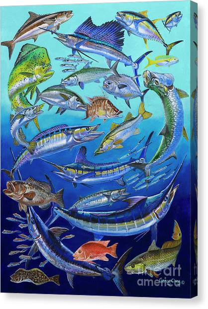 Big West Canvas Print - Gamefish Collage In0031 by Carey Chen