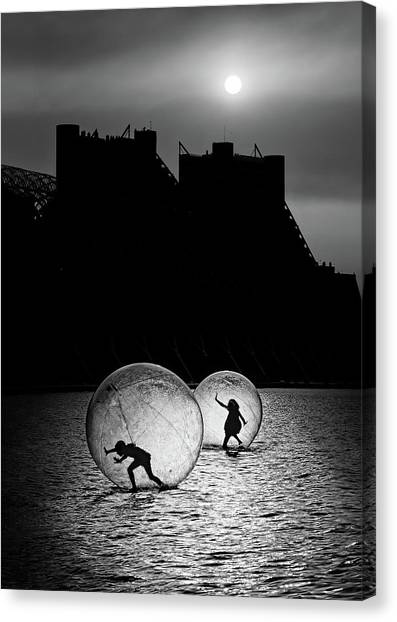 Floating Girl Canvas Print - Games In A Bubble by Juan Luis Duran