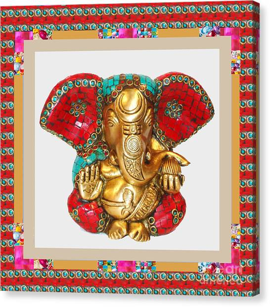 Ganapati Ganesh Idol Hinduism Religion Religious Spiritual Yoga Meditation Deco Navinjoshi  Rights M Canvas Print