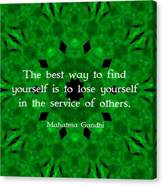 Self Discovery Canvas Print - Gandhi Inspirational Quote About Self-help  by Quintus Wolf