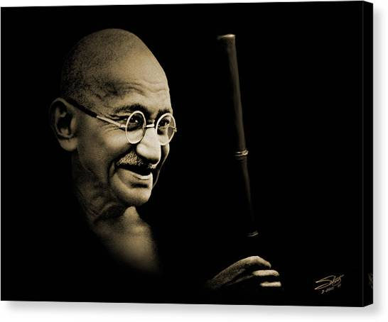 Gandhi Walking To The Sea Canvas Print