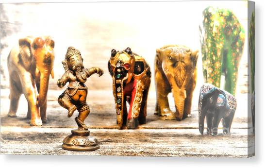 Hinduism Canvas Print - Ganesh Dream by Olivier Le Queinec