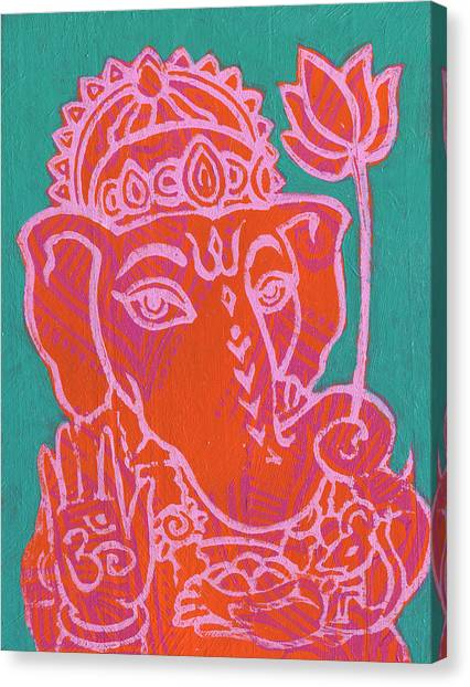 Ganesha Hot Pink Orange Teal Canvas Print