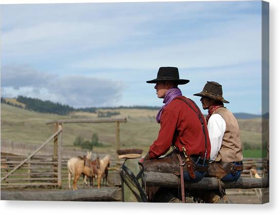 Gang Ranch Cowboys Canvas Print by Lee Raine