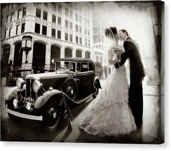 Wedding Bouquet Canvas Print - Gangster Wedding by Dmitry Laudin