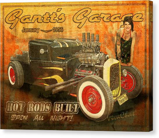 Gantt's Garage Open All Night Canvas Print