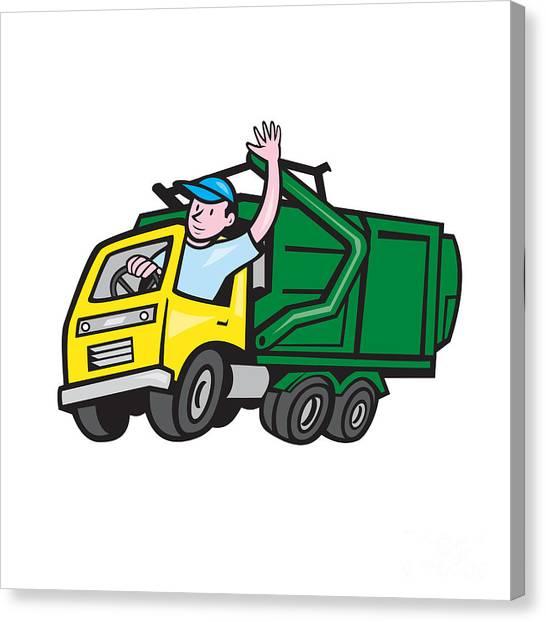 Truck Driver Canvas Print - Garbage Truck Driver Waving Cartoon by Aloysius Patrimonio