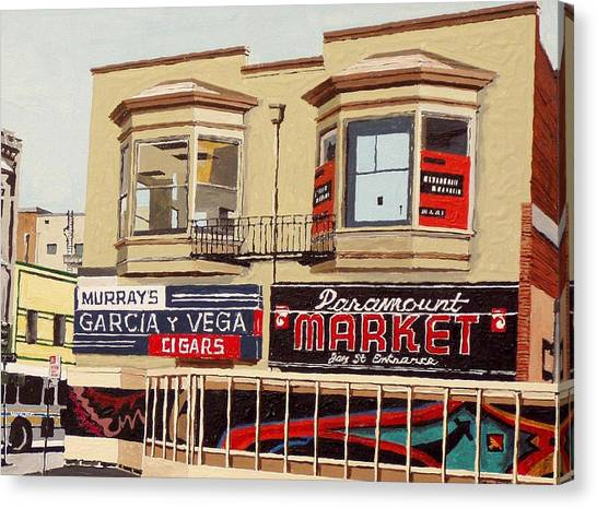 Garcia Y Vega And Paramount Market Canvas Print by Paul Guyer