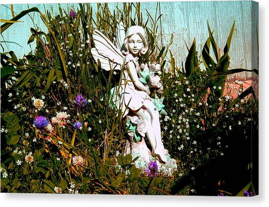 Garden Angel Canvas Print by Mavis Reid Nugent