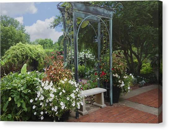 Garden Arch Canvas Print   Garden Bench By Ann Powell
