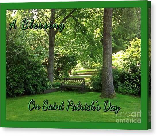 Garden Bench On Saint Patrick's Day Canvas Print