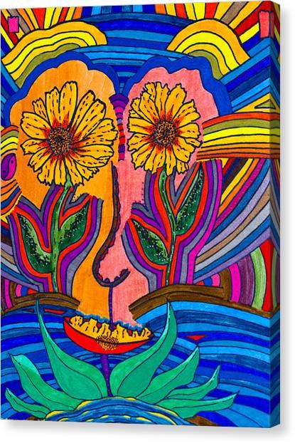 Garden Face - Lotus Pond - Daisy Eyes Canvas Print