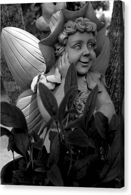 Garden Fairy Statue Canvas Print