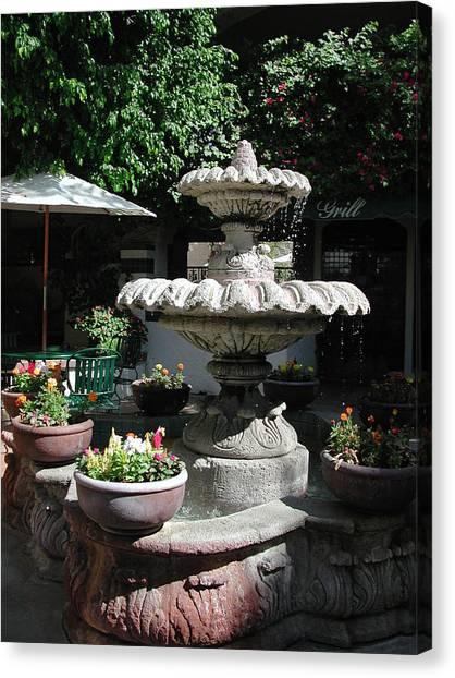 Garden Fountain Canvas Print by Pat Knieff
