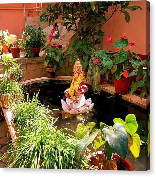 God Canvas Print - Garden In Amma's Ashram by Raimond Klavins