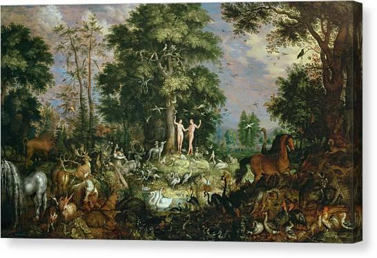 Ostriches Canvas Print - Garden Of Eden by Roelandt Jacobsz Savery