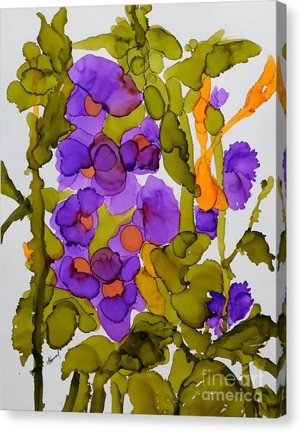 Garden Of Hollyhocks Canvas Print