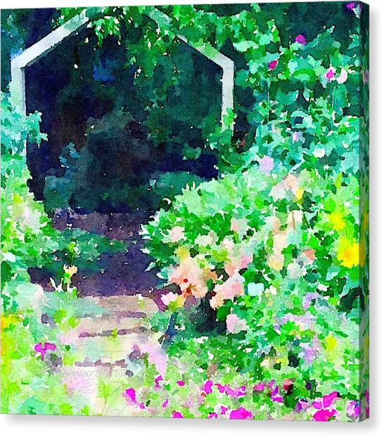Snowboarding Canvas Print - Garden Path by Anna Porter