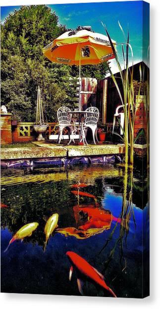Goldfish Canvas Print - Garden Pond by Chris Drake