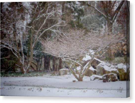 Garden Scene During Winter Snow At Sayen Gardens 2 Canvas Print