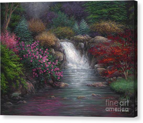 Waterfalls Canvas Print - Garden Spring by Chuck Pinson