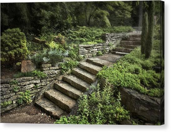 Shrub Canvas Print - Garden Steps by Tom Mc Nemar