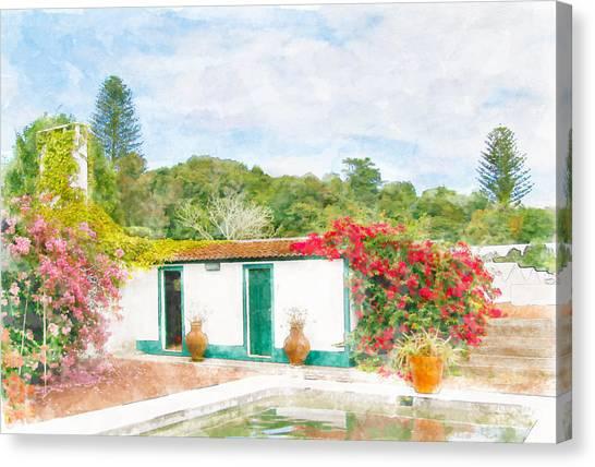 Garden Watercolor Painting Canvas Print