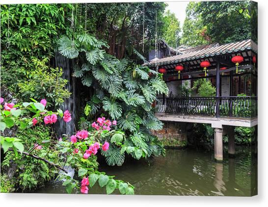 Chinese Restaurant Canvas Print - Garden Waterfall, Panxi Restaurant by Stuart Westmorland