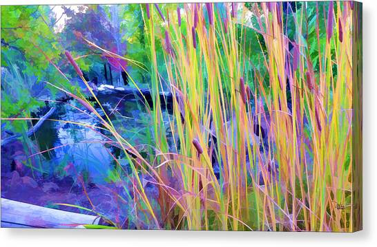 Garden With Koi Pond And Cattails Canvas Print
