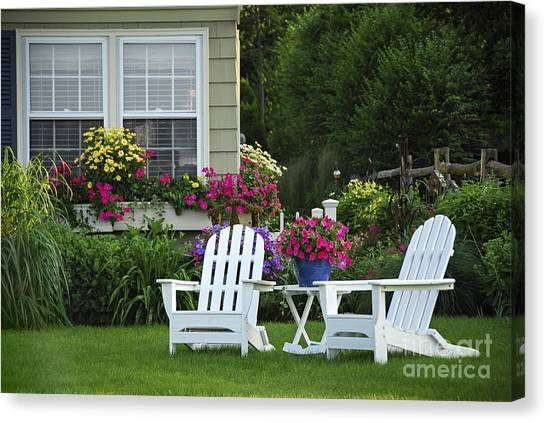 Empty Chairs Canvas Print - Garden With Lawn Chairs by Elena Elisseeva