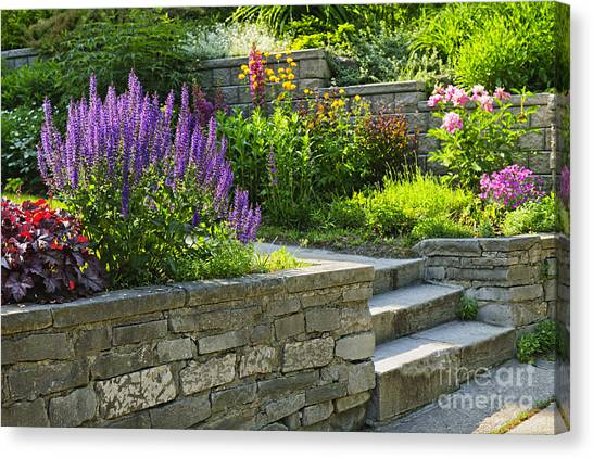 Stone Steps Canvas Print - Garden With Stone Landscaping by Elena Elisseeva