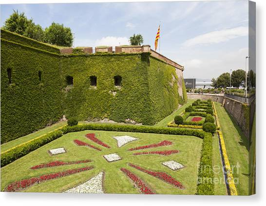 gardens around Montjuic Castle in Barcelona Canvas Print