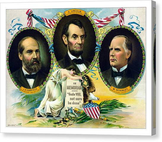 Presidential Portrait Canvas Print - Garfield Lincoln And Mckinley In Memoriam by War Is Hell Store