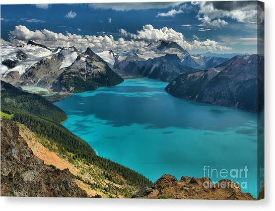 Garibaldi Lake Blues Greens And Mountains Canvas Print