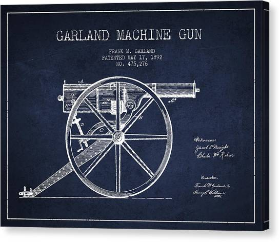 Shotguns Canvas Print - Garland Machine Gun Patent Drawing From 1892 - Navy Blue by Aged Pixel