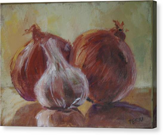 Garlic And Onions Canvas Print by Terri Messinger