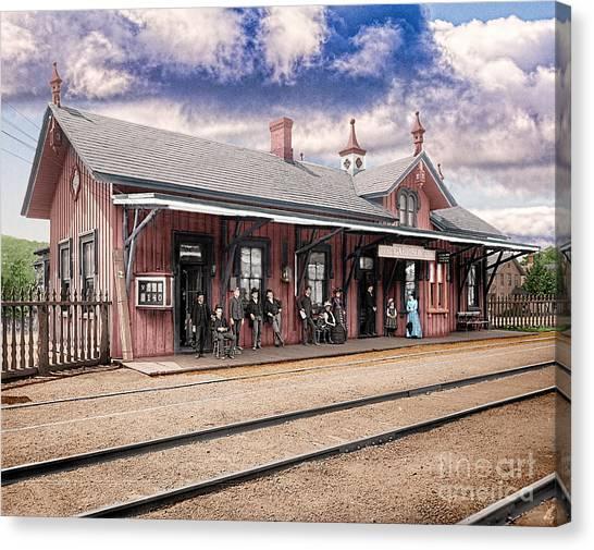 Garrison Train Station Colorized Canvas Print