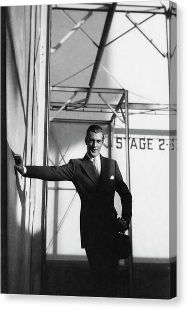 Gary Cooper Leaning On A Wall Canvas Print